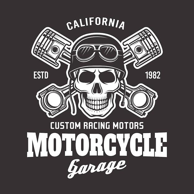 Emblema de motociclista vetor de garagem Vetor Premium