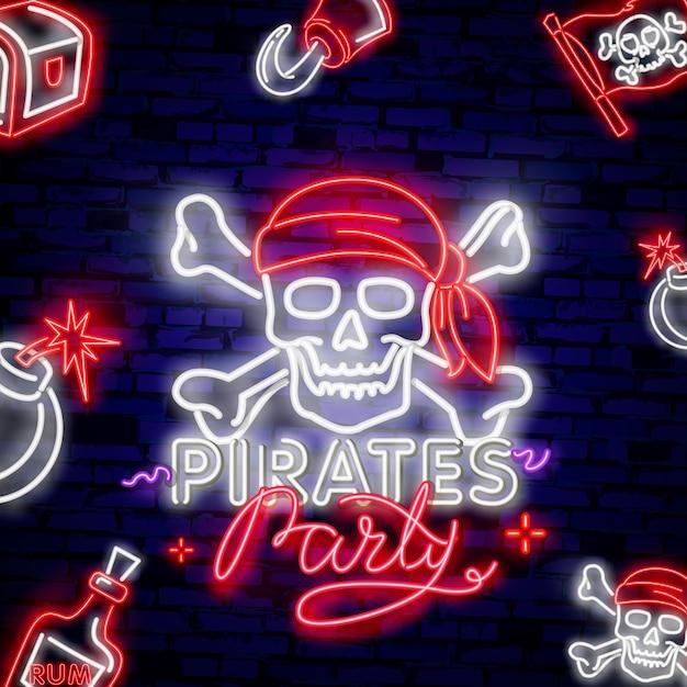 Emblema de pirata vintage néon brilhante Vetor Premium