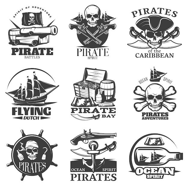 Emblema de piratas conjunto com espírito pirata voando descrições de aventuras de piratas da baía de pirata holandês Vetor grátis