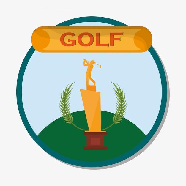 Emblema de prêmio de troféu dourado de golfe Vetor Premium
