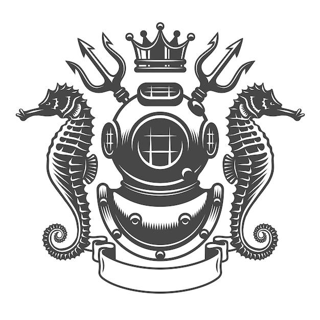 Emblema de rótulo monocromático de mergulho Vetor Premium