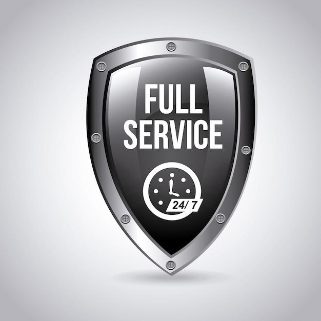 Emblema de serviço completo Vetor grátis