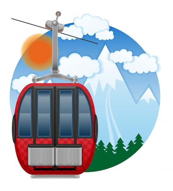 Emblema de teleférico de esqui de cabine Vetor Premium