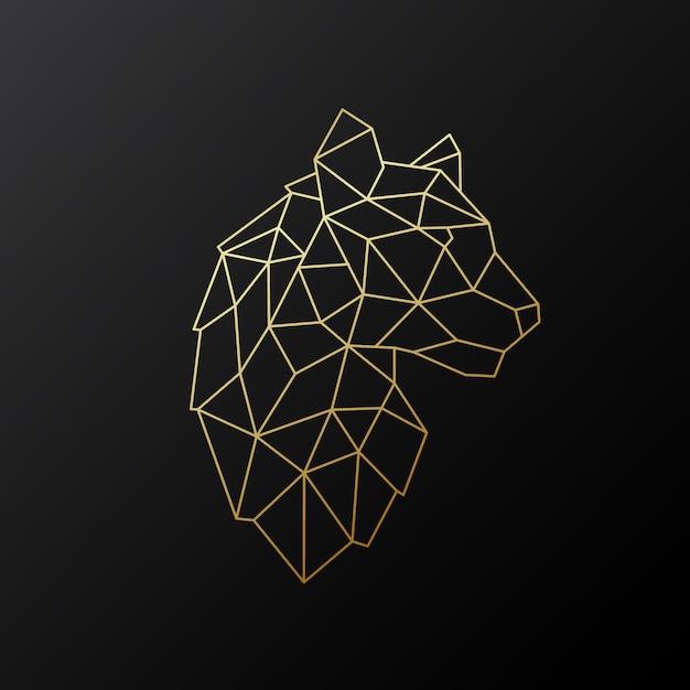 Emblema de tigre geométrica de vetor. Vetor Premium