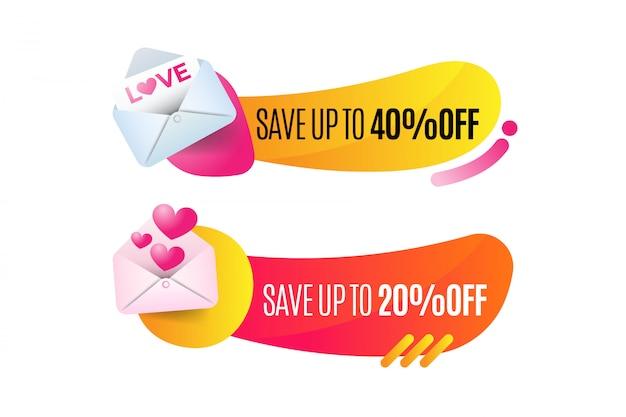 Emblema de venda do dia dos namorados Vetor Premium