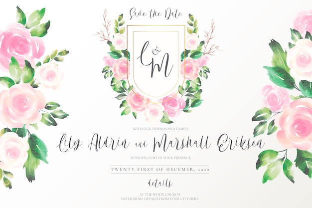 Emblema do casamento bonito com flores suaves Vetor grátis