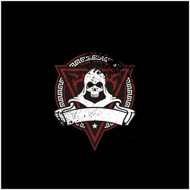 Emblema do crânio rústico para o logotipo do jogo ou motor club Vetor Premium