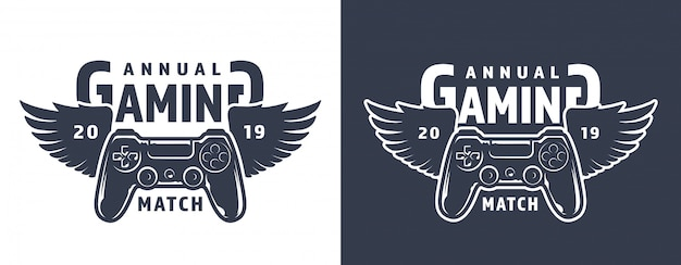 Emblema do gamepad alado Vetor grátis
