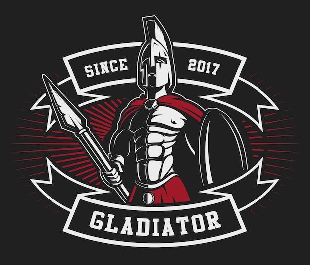 Emblema do gladiador com uma lança em fundo escuro. o texto está na camada separada. Vetor Premium