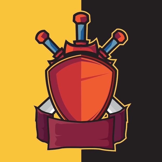 Emblema escudo e espada para elementos de design de logotipo esport Vetor Premium