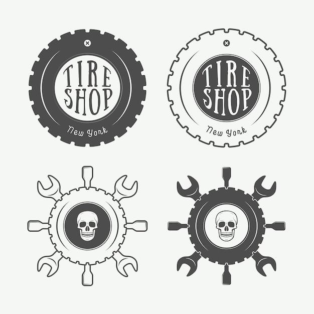 Emblema mecânico e logotipo Vetor Premium