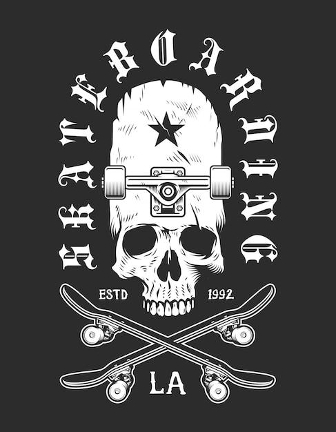 Emblema monocromática de skate vintage Vetor grátis