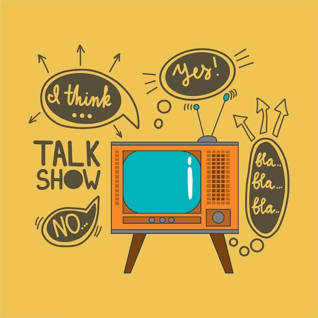 Emblema para talk shows no estilo doodle Vetor Premium