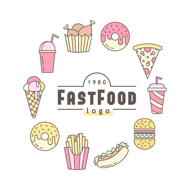 Emblema plana linear de fast-food, banner ou logotipo emblema. Vetor grátis