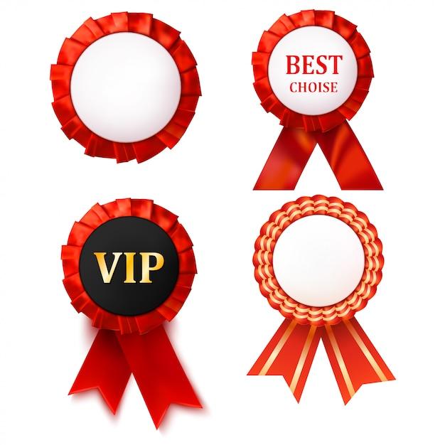 Emblema vermelho das fitas da concessão com branco. Vetor Premium