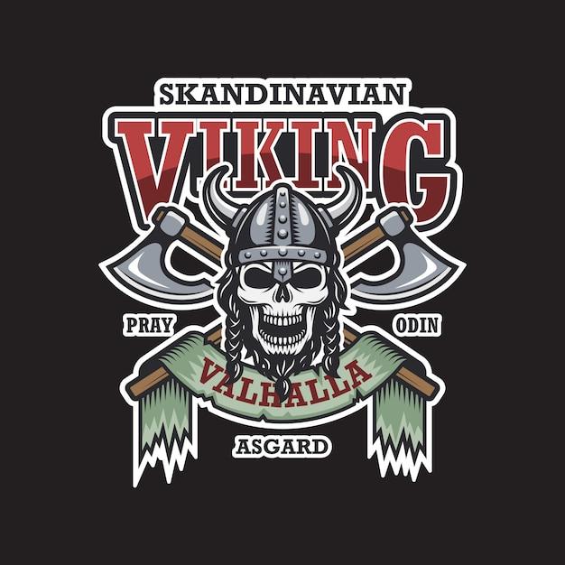 Emblema viking em fundo escuro. colori. tema escandinavo Vetor grátis