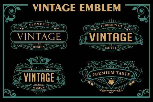 Emblema vitoriano vintage Vetor Premium