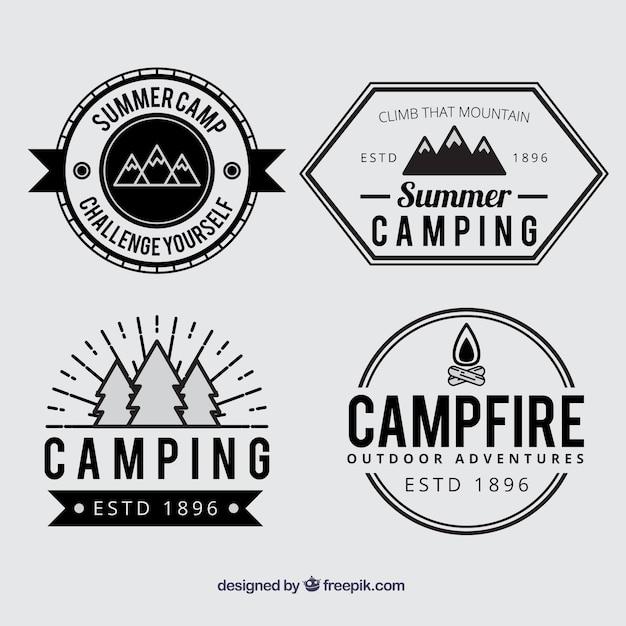 Muito Emblemas acampamento de verão em preto e branco | Baixar vetores  PG96