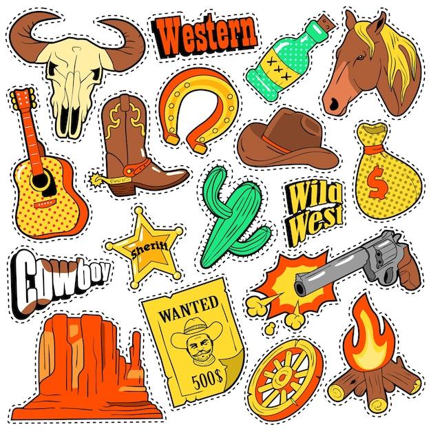 Emblemas, adesivos e adesivos do velho oeste do texas com cowboy, cavalo, arma e xerife doodle Vetor Premium