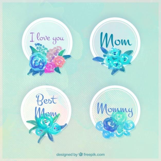 Emblemas aguarela bonito do dia das mães com flores Vetor grátis