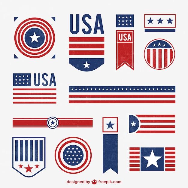 Emblemas americanos carimbaram Vetor grátis