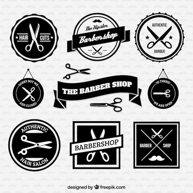 Emblemas barbearia retro Vetor grátis