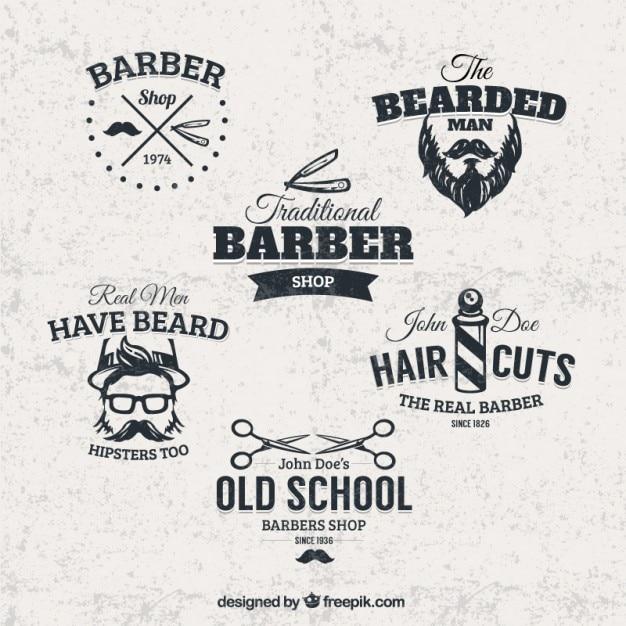 Emblemas barbearia Vetor grátis