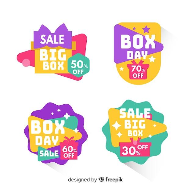 Emblemas coloridos de boxe coleção de venda do dia Vetor grátis