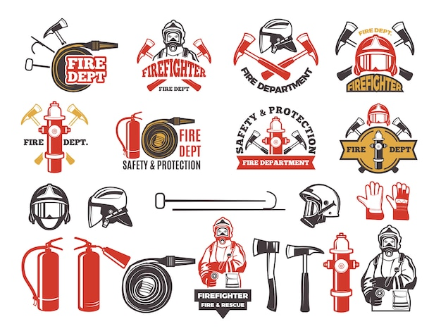 Emblemas coloridos para o departamento de bombeiro. Vetor Premium