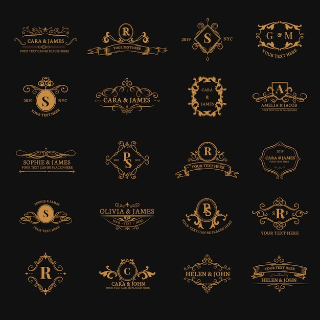 Emblemas, com, iniciais, jogo Vetor grátis