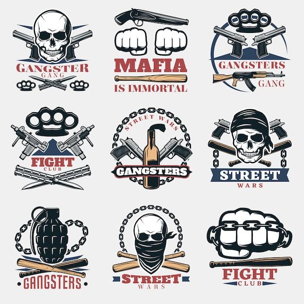 Emblemas da luta da máfia na cor Vetor grátis