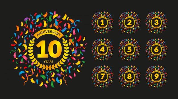 Emblemas de aniversário com confetes coloridos Vetor Premium