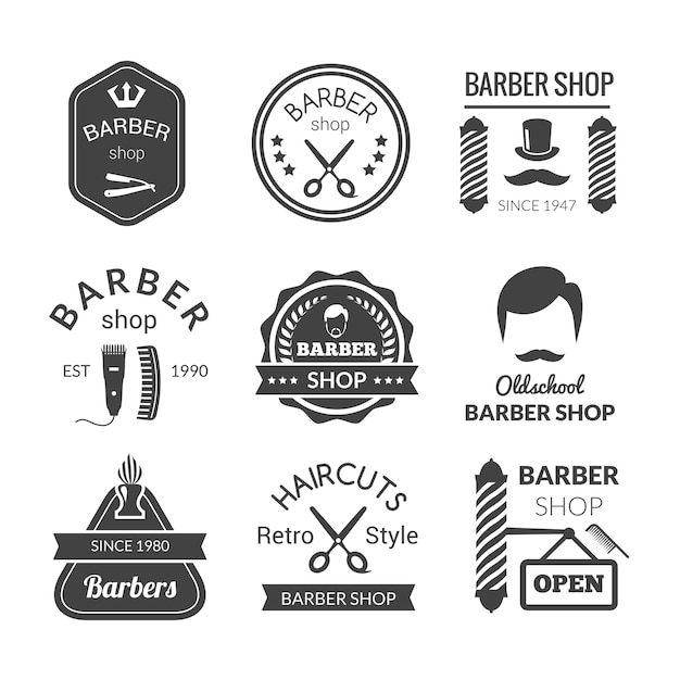 Emblemas de barbearia Vetor grátis