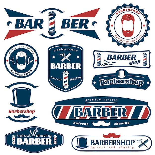 Emblemas de barbeiro azul vermelho Vetor grátis