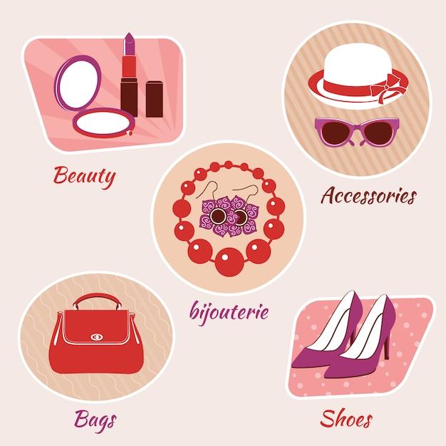 Emblemas de beleza de moda mulher conjunto de acessórios bijouterie sacos e sapatos isolados Vetor Premium