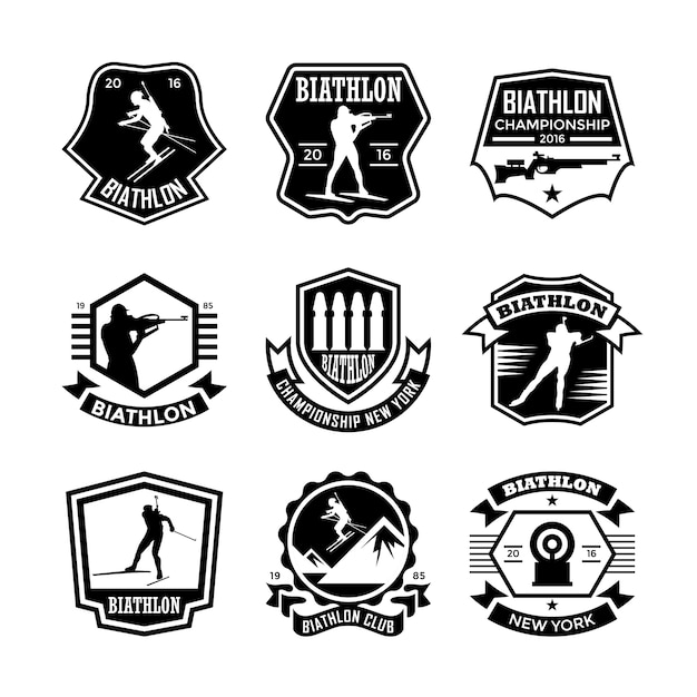 Emblemas de biatlo Vetor Premium