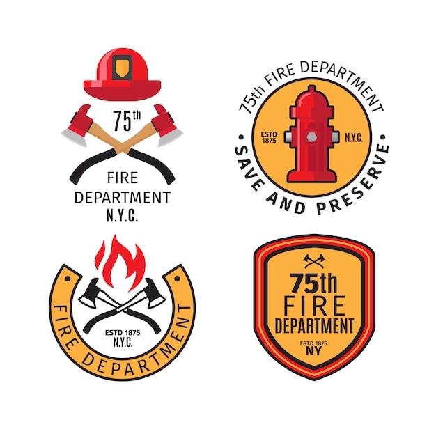 Emblemas de bombeiro e distintivos do corpo de bombeiros Vetor Premium
