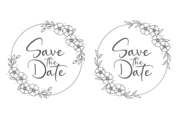 Emblemas de casamento florais mínimos e monograma estilo círculo Vetor Premium
