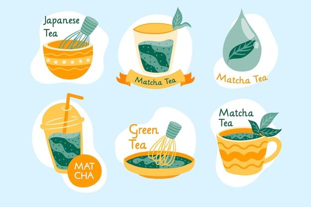 Emblemas de chá matcha verde japonês Vetor grátis