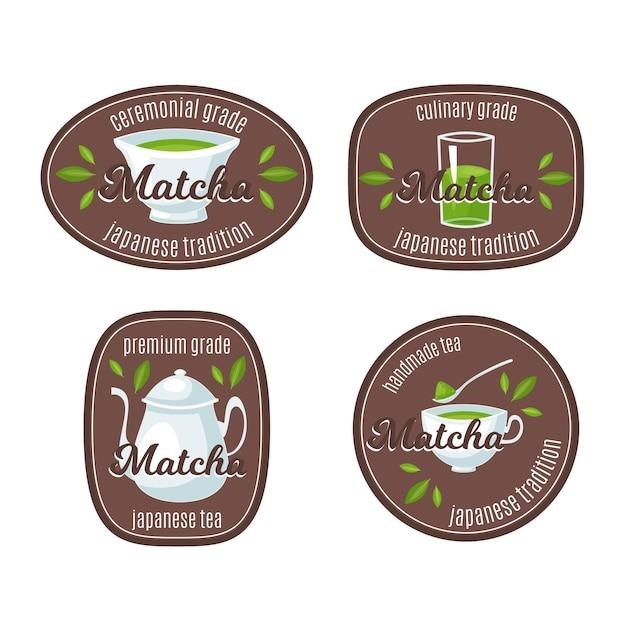 Emblemas de chá matcha Vetor grátis
