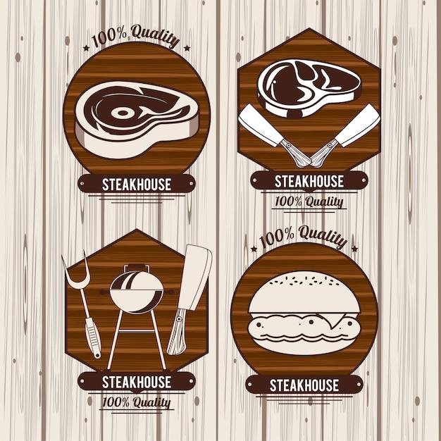 Emblemas de churrasco de churrasco Vetor Premium