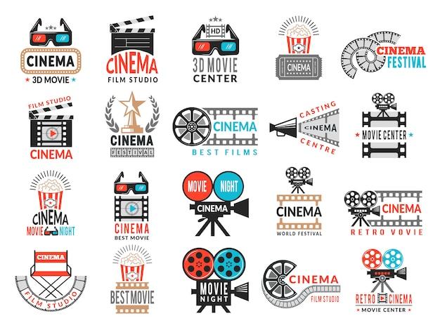 Emblemas de cinema. símbolos de produção cinematográfica câmera diretor cadeira filme fita logotipo coleção Vetor Premium