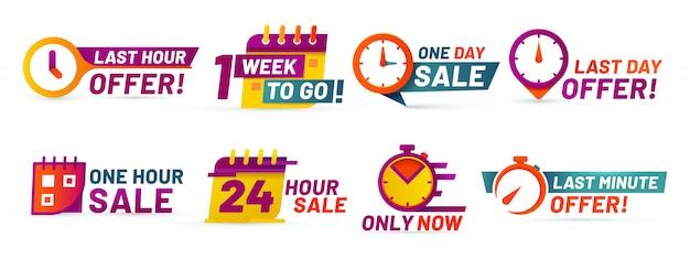 Emblemas de contagem regressiva de venda. banner de oferta de última hora, vendas de um dia e conjunto de adesivos promocionais de venda 24 horas Vetor Premium