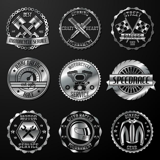Emblemas de corrida metálicos Vetor grátis