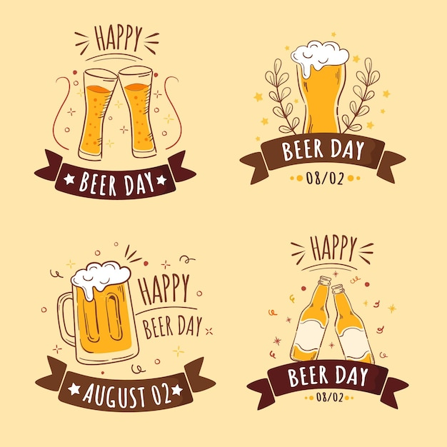 Emblemas de dia da cerveja design plano internacional Vetor grátis