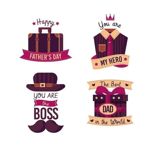 Emblemas de dia dos pais de design plano Vetor grátis
