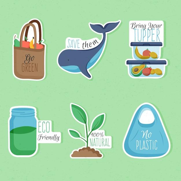 Emblemas de ecologia mão desenhada Vetor grátis