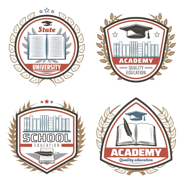 Emblemas de educação em cores vintage com livros de inscrições estante de livros tampa de formatura grinaldas florais de penas isoladas Vetor grátis