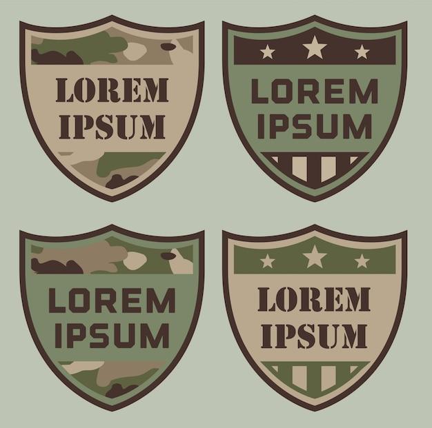 Emblemas de escudo militar Vetor Premium