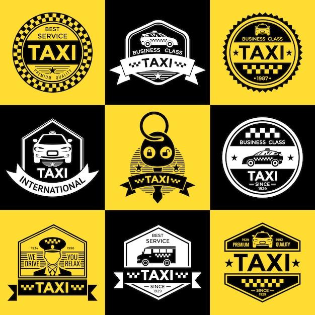 Emblemas de estilo retro de táxi Vetor grátis